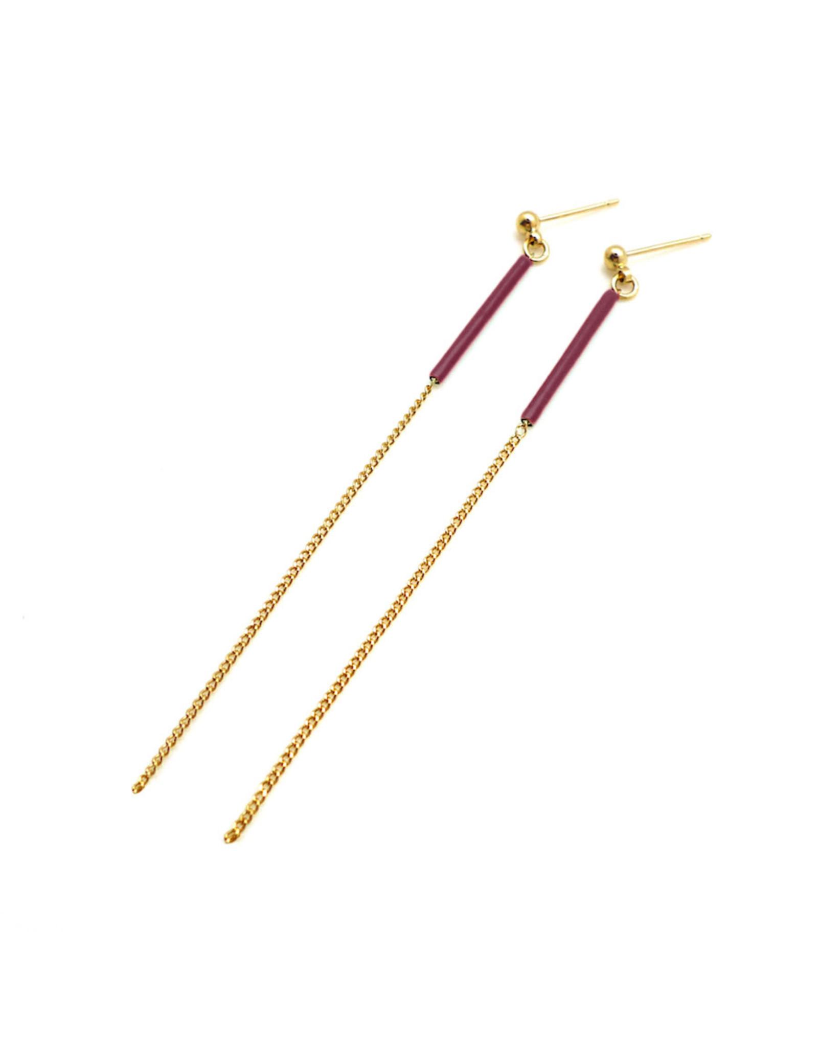Nadja Carlotti Earrings Sparkle Burgundy