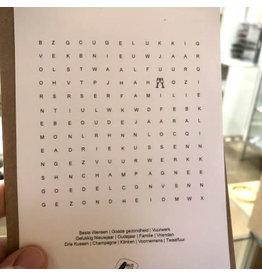 Eigen Kweek Wenskaart - Kerst - Woordzoeker Nieuwjaar - postkaart met envelop