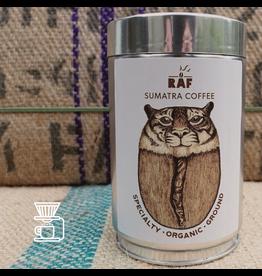 RAF Coffee Sumatra coffee | 250g Gemalen Bonen | Vol, zacht, toetsen van donkerrood fruit, crèmige body | 100% Indonesia Permata Gayo Bio