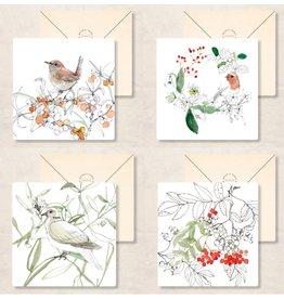Zintenz Wenskaarten - Kerst - Set van 4 - Vogel - Postkaart + envelop - Blanco - 13,5x13,5