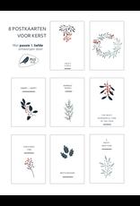 Eigen Kweek Wenskaart - Kerst - set van 8 - postkaarten A6 met envelop