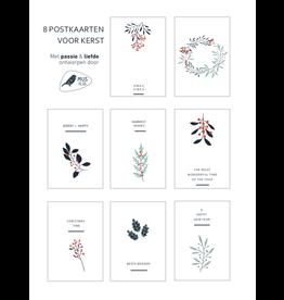 Mus in een Plas Wenskaart - Kerst - set van 8 - postkaarten A6 met envelop