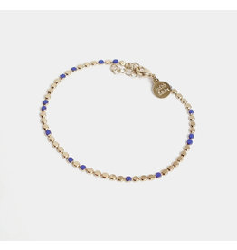 Judith Benita Armband Molto Simple - Blauw - Messing Verguld - Lengte 15,5cm