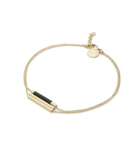 Judith Benita Armband Lines - Zwart  -  Messing Verguld - Lengte 15,5cm