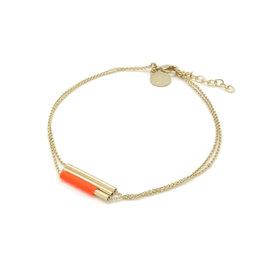 Judith Benita Armband Lines - Rood -  Messing Verguld - Lengte 15,5cm