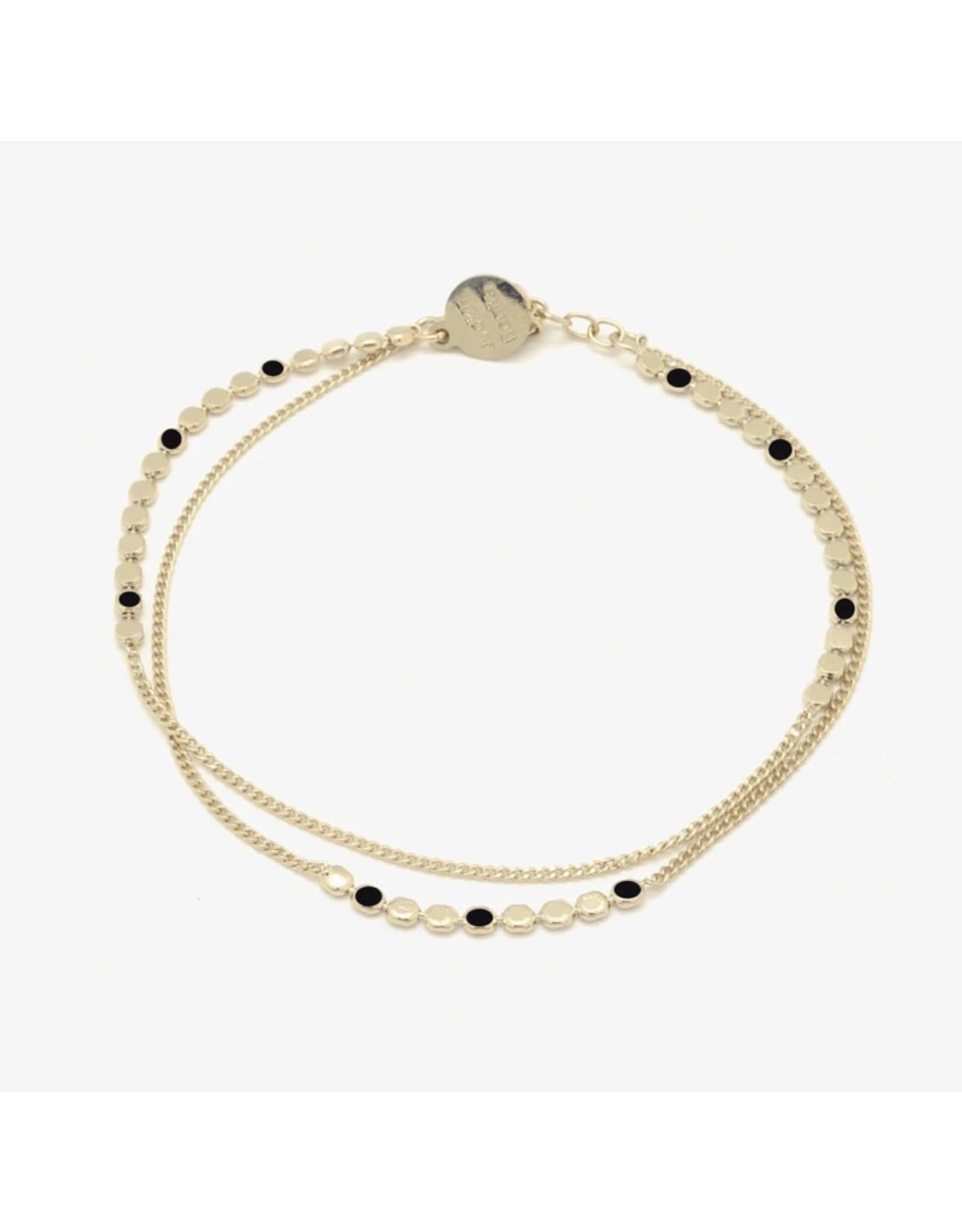 Judith Benita Armband Molto Multi - Zwart - Messing Verguld - Lengte 15,5cm