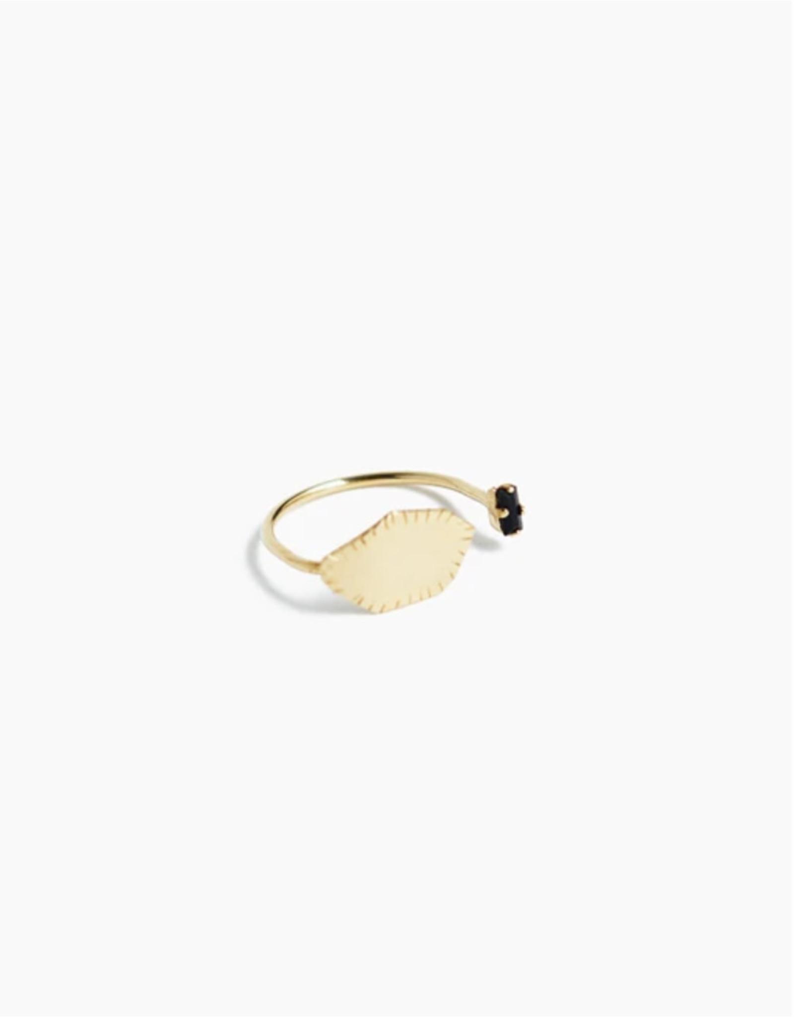 Judith Benita Ring Myrrhe  - M55 - Swarovski  zwart  -  Messing Verguld
