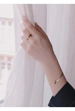 Judith Benita Ring Myrrhe  - M55 - Swarovski  Gris (zwarte diamant)  -  Messing Verguld