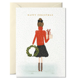 Nelly Castro Wenskaart - Kerst - happy Christmas girl - gevouwen kaart met envelop