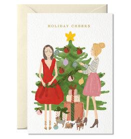 Nelly Castro Wenskaart - Kerst - Holiday Cheers girls  party- gevouwen kaart met envelop