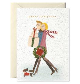 Nelly Castro Wenskaart - Kerst - Merry Christmas Couple - gevouwen kaart met envelop