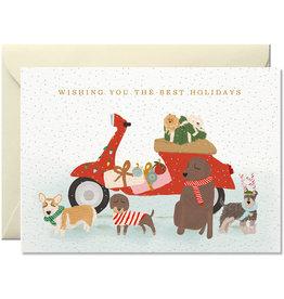 Nelly Castro Wenskaart - Kerst - Wishing you the best holiday Vespa & dogs - gevouwen kaart met envelop