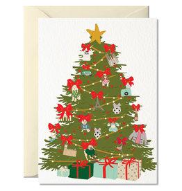 Nelly Castro Wenskaart - Kerst - Christmas tree - gevouwen kaart met envelop