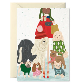 Nelly Castro Wenskaart - Kerst - Dogs Christmas - gevouwen kaart met envelop