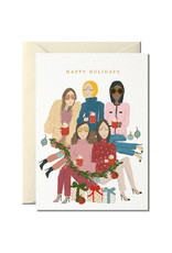 Nelly Castro Wenskaart - Kerst - Happy Holiday girls - gevouwen kaart met envelop