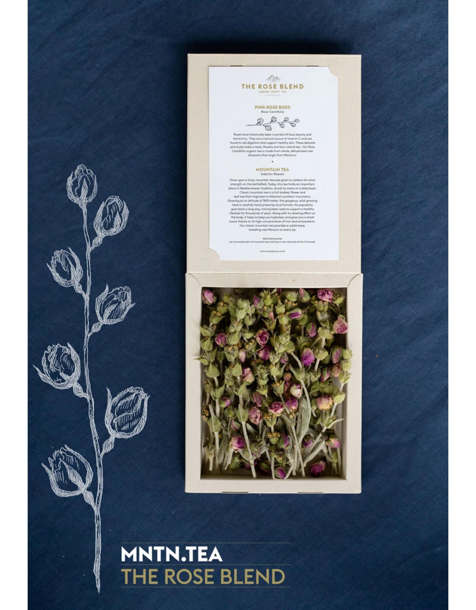 Lemon Poppy Tea Box The Rose Blend - Rozen thee en klassieke bergthee  - 20kopjes / 10 potten thee - 100% biologische in het wild groeiend kruiden- en bloementheeën uit Albanië en Marokko - 5min laten trekken - Periode van 12u tot 3x worden gebruikt