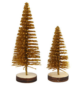 Creotime Mini kerstboompjes - Goud - 5st - H 40 en 60mm