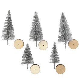 Creotime Mini kerstboompjes - Zilver - 5st - H 40 en 60mm