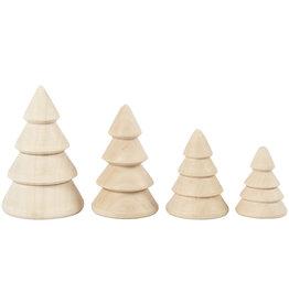 Creotime Mini kerstboompjes - Hout - 4st - H 6, 5, 4, 3 cm