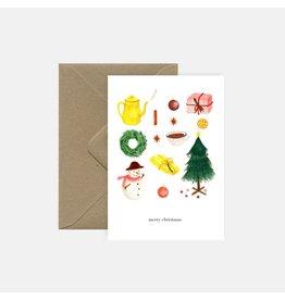 Pink Cloud Studio Wenskaart- Kerst - Christmas Time - dubbele kaart met envelop