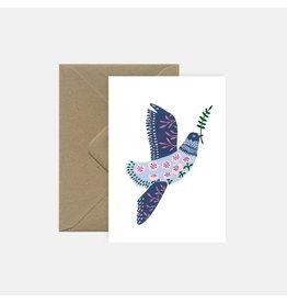 Pink Cloud Studio Wenskaart- Kerst - Vredesduif met takje- dubbele kaart met envelop