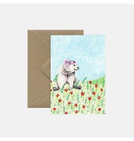 Pink Cloud Studio Wenskaart- Bear with flowers - dubbele kaart met envelop