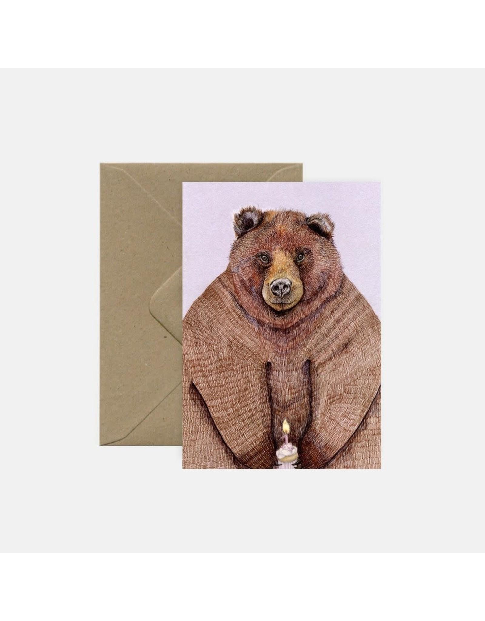 Pink Cloud Studio Wenskaart- Birthday bear - dubbele kaart met envelop