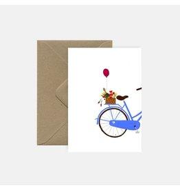Pink Cloud Studio Wenskaart- Blue bike - dubbele kaart met envelop