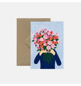 Pink Cloud Studio Wenskaart- Bouquet of rose - Dubbele kaart met envelop