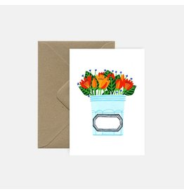 Pink Cloud Studio Wenskaart- Jar with flowers - dubbele kaart met envelop