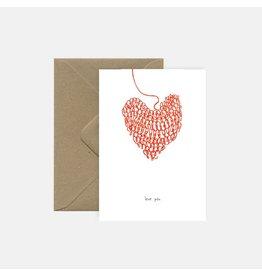 Pink Cloud Studio Wenskaart- Knitted heart - dubbele kaart met envelop