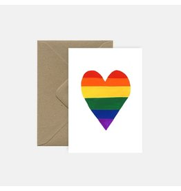 Pink Cloud Studio Wenskaart - Rainbow heart - dubbele kaart met envelop