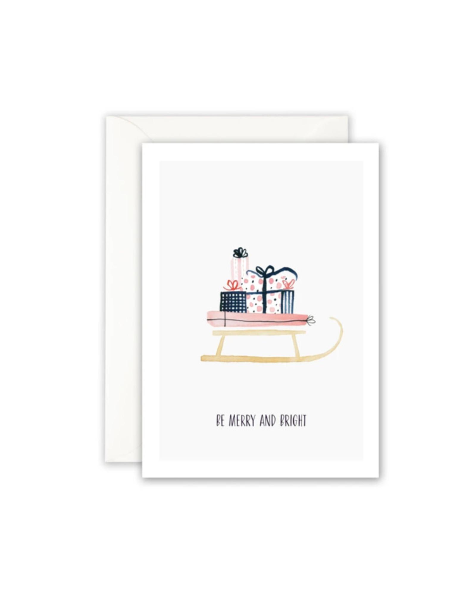 Leo La Douce Wenskaart - Kerst - Be merry and bright - Dubbele kaart + Envelope - 10 x 15cm