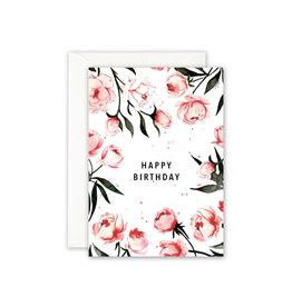 Leo La Douce Wenskaart - Happy birthdays roses - Dubbele kaart + Envelope - 10 x 15cm
