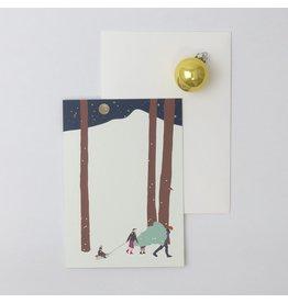 Souci-illustration Wenskaart - Kerst - Winterland Familie - Dubbele kaart + Envelope - 10 x 15cm