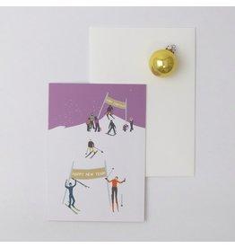 Souci-illustration Wenskaart - Kerst - Skipiste - Dubbele kaart + Envelope - 10 x 15cm