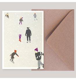 Souci-illustration Wenskaart - Kerst - Schaatsen - Postkaart + Envelope - 10 x 15cm