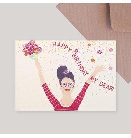 Souci-illustration Wenskaart - Happy Birthday Dear - Postkaart + Envelope - 10 x 15cm