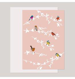 Souci-illustration Wenskaart - Fluitende Vogels op takken roze - Dubbele kaart + Envelope - 10 x 15cm