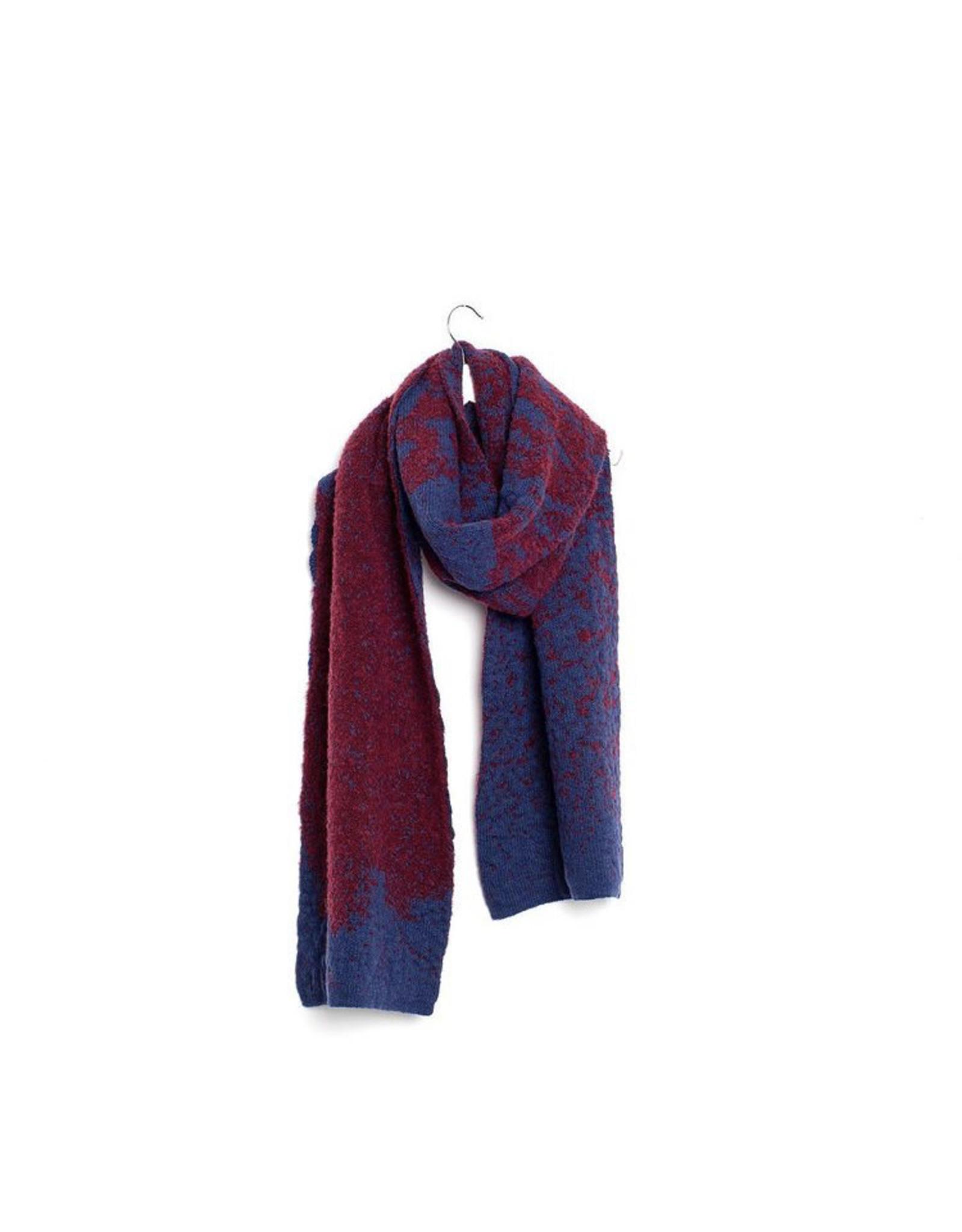 Wolvis Wolvis AW19 - Aubergine & Donkerblauw   - 220cm x 40 - 100% Merino Wool - 100% made in Belgium