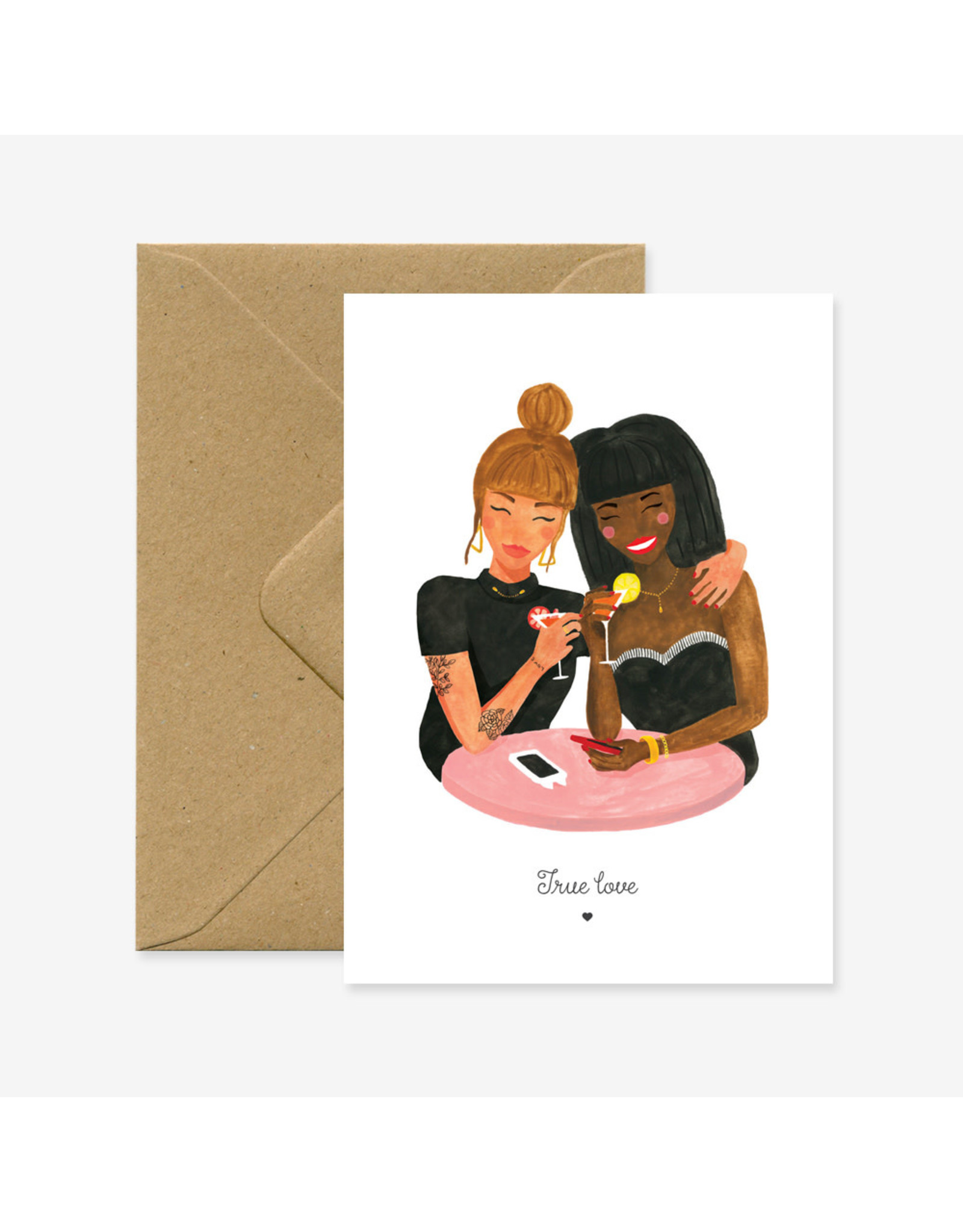 ATWS Wenskaart - True love - Dubbele kaart + Envelop - 11,5 x 16,5 - Blanco