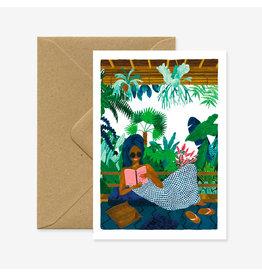 ATWS Wenskaart - Chill book - Dubbele kaart + Envelop - 11,5 x 16,5 - Blanco