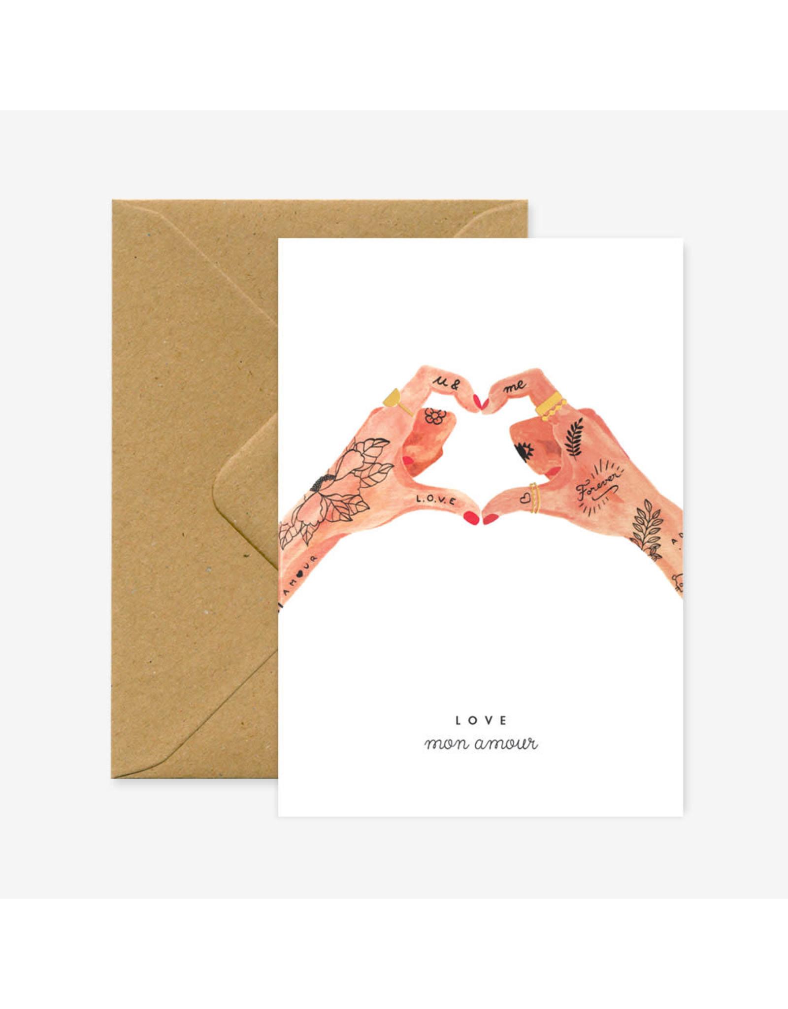 ATWS Wenskaart - Hands of love  - Dubbele kaart + Envelop - 11,5 x 16,5 - Blanco