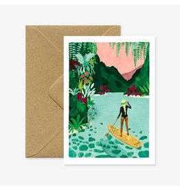 ATWS Wenskaart - Paddle girl - Dubbele kaart + Envelop - 11,5 x 16,5 - Blanco