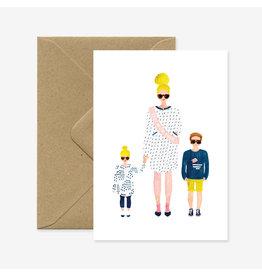 ATWS Wenskaart - Best mum ever - Dubbele kaart + Envelop - 11,5 x 16,5 - Blanco