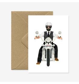 ATWS Wenskaart - Biker 4ever - Dubbele kaart + Envelop - 11,5 x 16,5 - Blanco