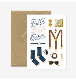 ATWS Wenskaart - Best dad ever - Dubbele kaart + Envelop - 11,5 x 16,5 - Blanco