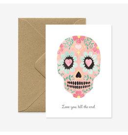 ATWS Wenskaart - Love skull - Dubbele kaart + Envelop - 11,5 x 16,5 - Blanco