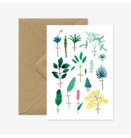 ATWS Wenskaart - Herbier exotique - Dubbele kaart + Envelop - 11,5 x 16,5 - Blanco