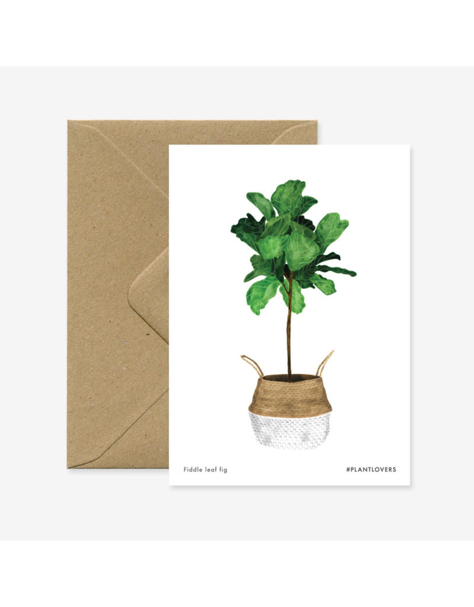 ATWS Wenskaart - Fiddle leaf fig - Dubbele kaart + Envelop - 11,5 x 16,5 - Blanco